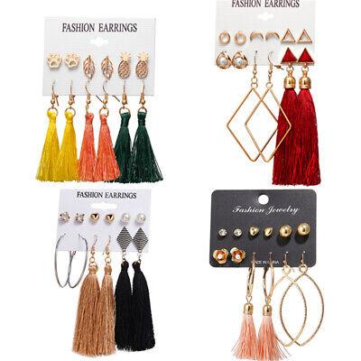 6Pairs Boho Tassel Crystal Pearl Earrings Set Women Ear Stud Dangle Jewelry Gift 8