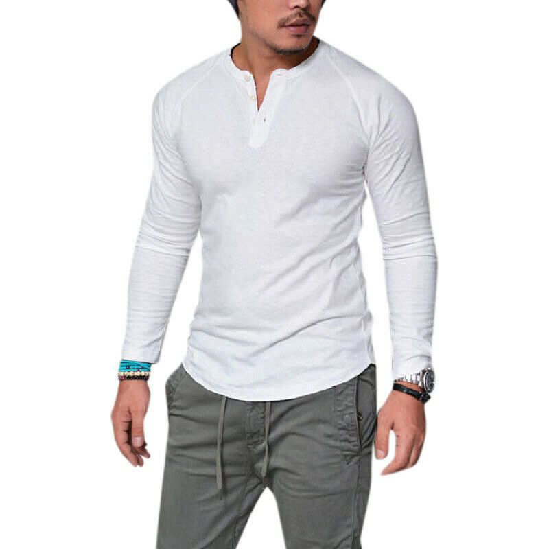 Mens Plain Muscle Tee Long Sleeve V Neck T-Shirt Casual Top Blouse Henley Shirts 4