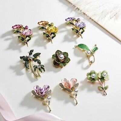 Fashion Rhinestone Crystal Flower Plant Bridal Bouquet Enamel Brooch Pin Jewelry 8