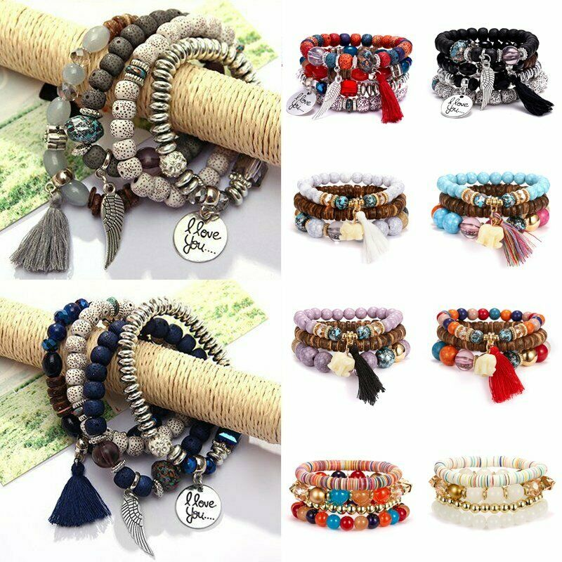 4Pcs I Love You Multilayer Natural Stone Crystal Bangle Beaded Bracelet Jewelry 4