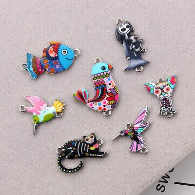 10Pcs Mixed Color Bird Dog Animals Enamel Charms Pendant Connector DIY Jewelry 10