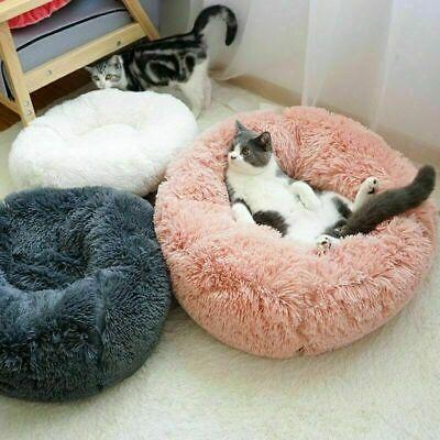 US Fur Donut Cuddler Pet Calming Bed Dog Beds Soft Warmer Medium Small Dogs Cats 4
