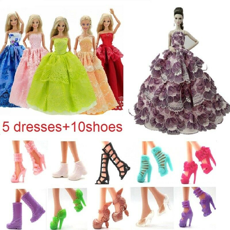5 Handmade dresses + 10 pairs of shoes for Barbie dolls clothes kids cute gift 3