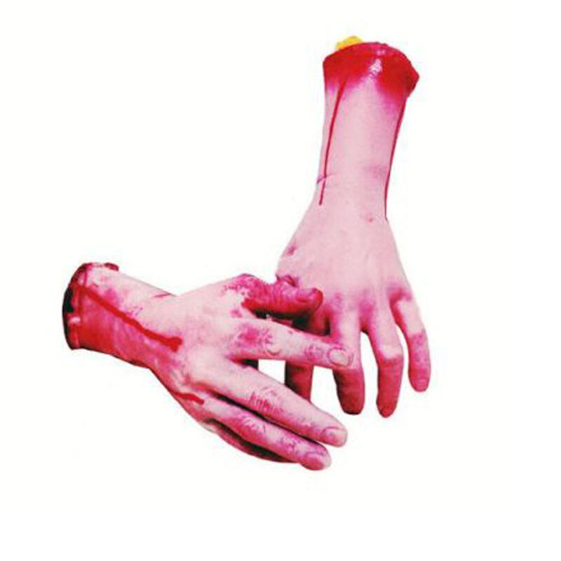 Halloween Realistic Hand Terror Bloody Fake Body Parts Severed Arm Hand Prop 5