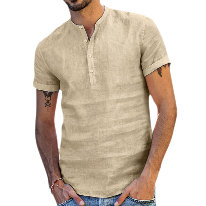 Mens Standing Collar Short Sleeve Soft Solid Tops Summer Beach Holiday T Shirts 7