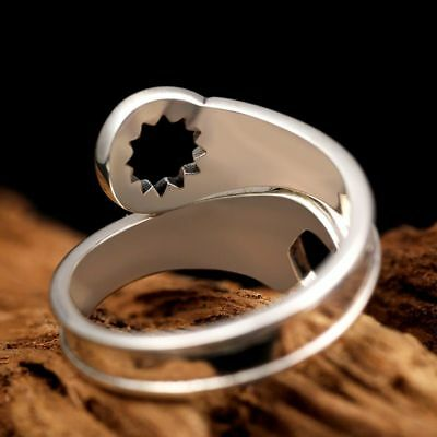Men's Retro Love Vintage Punk Rings Sterling Silver Cool Wrench Silver Jewelry 3