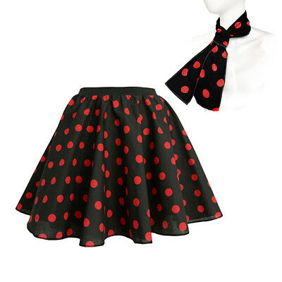 a3c60c92c ... Kids Girls Rock n Roll Full Circle Polka Dot Skirt 50's Fancy Dress  Costume Jive 8