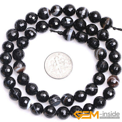 """Natural Faceted Gemstone Black Stripe Agate Round Beads For Jewelry Making 15""""Y 5"""