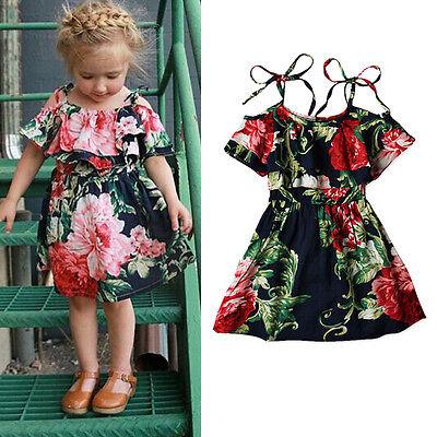 AU Stock Summer Toddler Baby Girl Skater Dress Kid Floral Princess Party Dresses