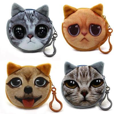 3D Cute Cat Dog Face Shiny Eyes Zipper Xmas Case Card Coin Money Purse Wallets 2