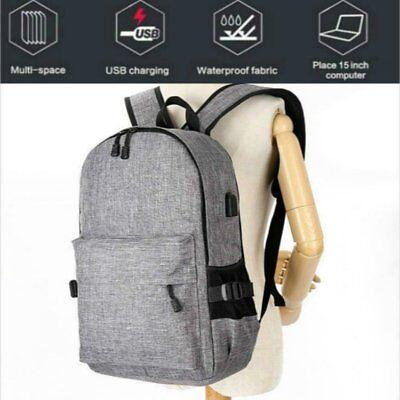 Anti-Theft Backpack USB Port Water Repellent Charging Travel Laptop School Bag H 5