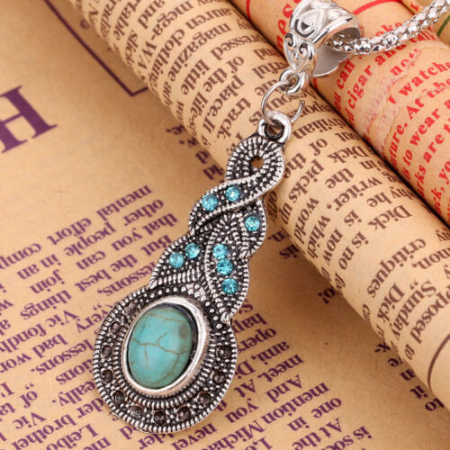 Fashion Jewelry Tibetan Silver Turquoise Crystal Pendant Necklace Chain Vintage