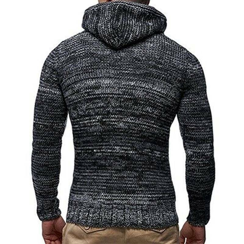 Mens Warm Knitted Hooded Long Sleeve Jumper Pullover Casual Sweater Winter Coat 10