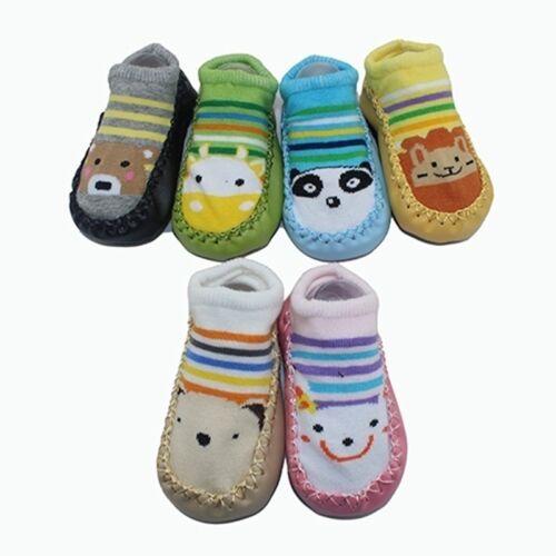 Cute Unisex Bambino Piccoli Anti-scivolo Calze Scarpe Pantofola 6-24 Mesi 2