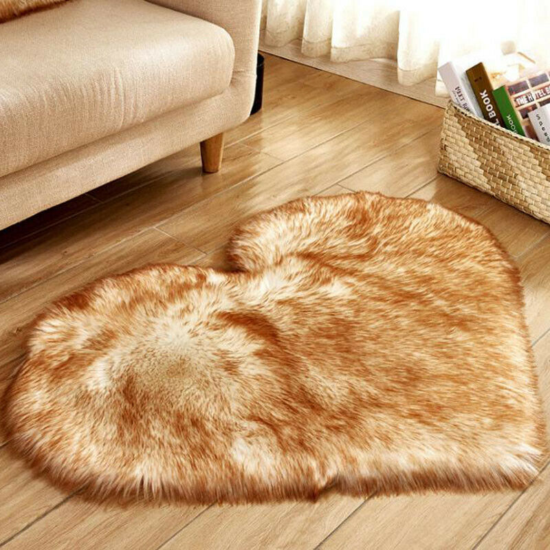 Heart Shaped Fluffy Rugs Anti-Skid Shaggy Area Rug Carpet Home Bedroom Floor Mat 3