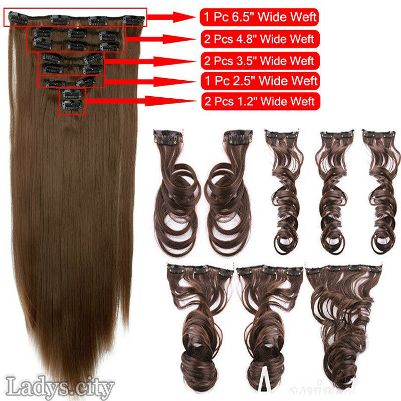 ON CLEARANCE Clip in 100% Real Natural as Human Hair Extensions 8 Pcs  Long Wavy 4
