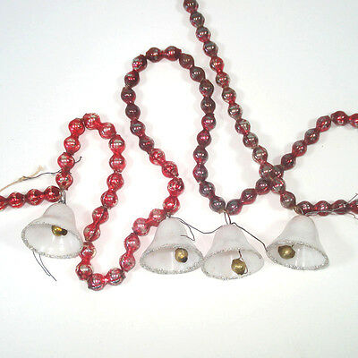 shabby red mercury glass beaded christmas garland with bells - Beaded Christmas Garland