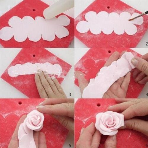 3 Pcs Moule Couper Gâteau Pétale Fleur Rose DIY Décoration Patisserie Biscuit NF 2
