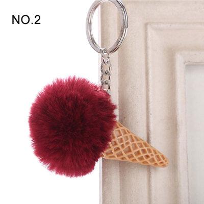 1PC Pendant Imitation Hairball Keychain Ice Cream Cute Fashion Bag Keyring 4