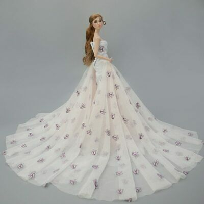 Colorful Floral High Fashion Doll Clothes for 1/6 Doll Wedding Dress Party Gown 8