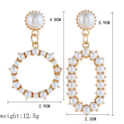 Geometric Irregular Circle Baroque Pearl Earrings Metal Gold Drop Dangle Earring 9