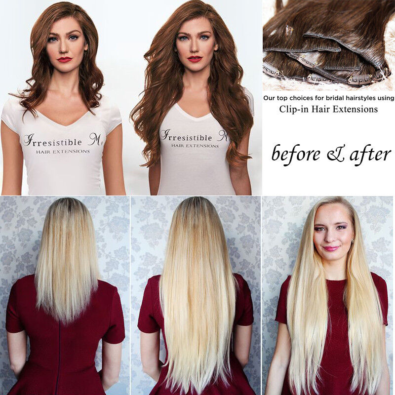 ON CLEARANCE Clip in 100% Real Natural as Human Hair Extensions 8 Pcs  Long Wavy 3