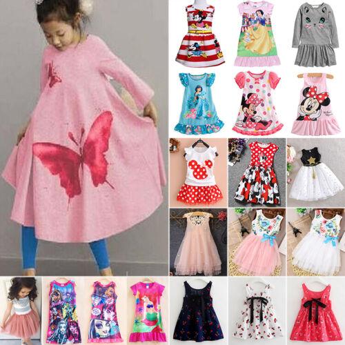 Kids Baby Girls Princess Dress Summer Tutu Party Cartoon Tunika Sundress Clothes 2