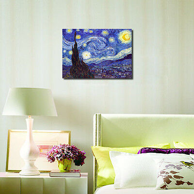 Starry Night by Van Gogh Fine Art Print Painting Reproduction on Canvas Framed 3