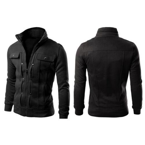 Men Stand Collar Slim Fit Winter Zip Coat Top Military Jacket Sweatshirt Outwear 11