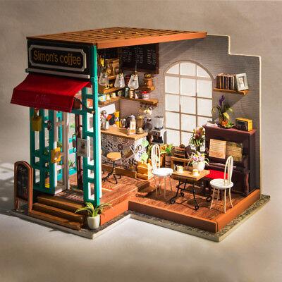 Robotime DIY Dollhouse Kit Miniature Modern Cafe with Furniture LED Gift Girls 3