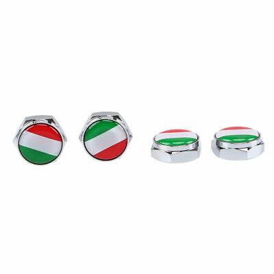 4pcs Chrome Custom License Plate Frame Screw Snap Caps Covers Italy Italian Flag