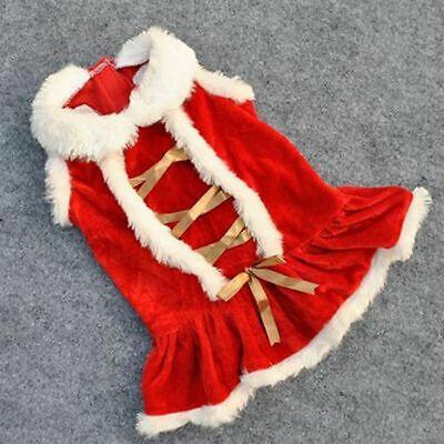 Cute Dog Puppy Christmas Santa Warm Costumes Coat Clothes Pet Apparel Shirt 11
