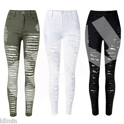 Womens Ladies Celeb Stretch Ripped Skinny High Waist Denim Pants Jeans S M L XL