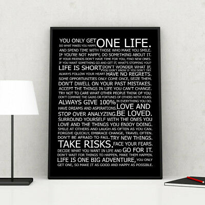 Life Motivational Quote Canvas Print Black White Poster Wall Art Painting Decor 2
