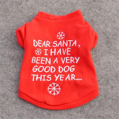 Pet Dog Puppy Santa Shirt Christmas Clothes Costumes Warm Jacket Coat Apparel 5