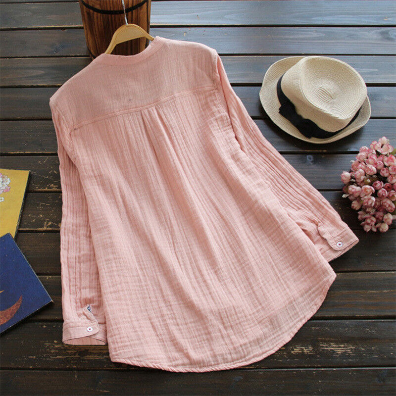 Womens V Neck Baggy Loose Cotton Tops T Shirt Plus Size Long Sleeve Tunic Blouse 8