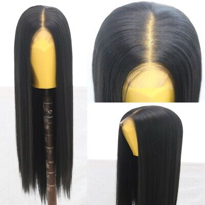 """AU 24"""" Natural Straight Synthetic Fiber Hair Handtied Off Black Lace Front Wig 2"""
