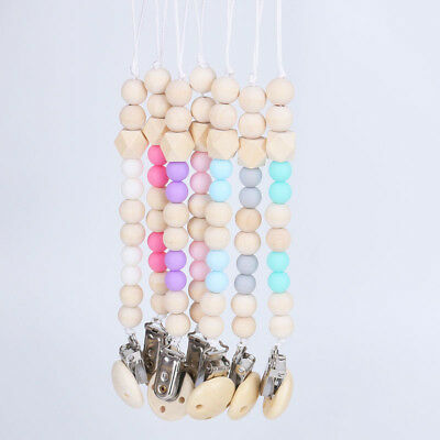 Baby Infant Wooden Beaded Pacifier Holder Clip Nipple Teether Dummy Strap SM