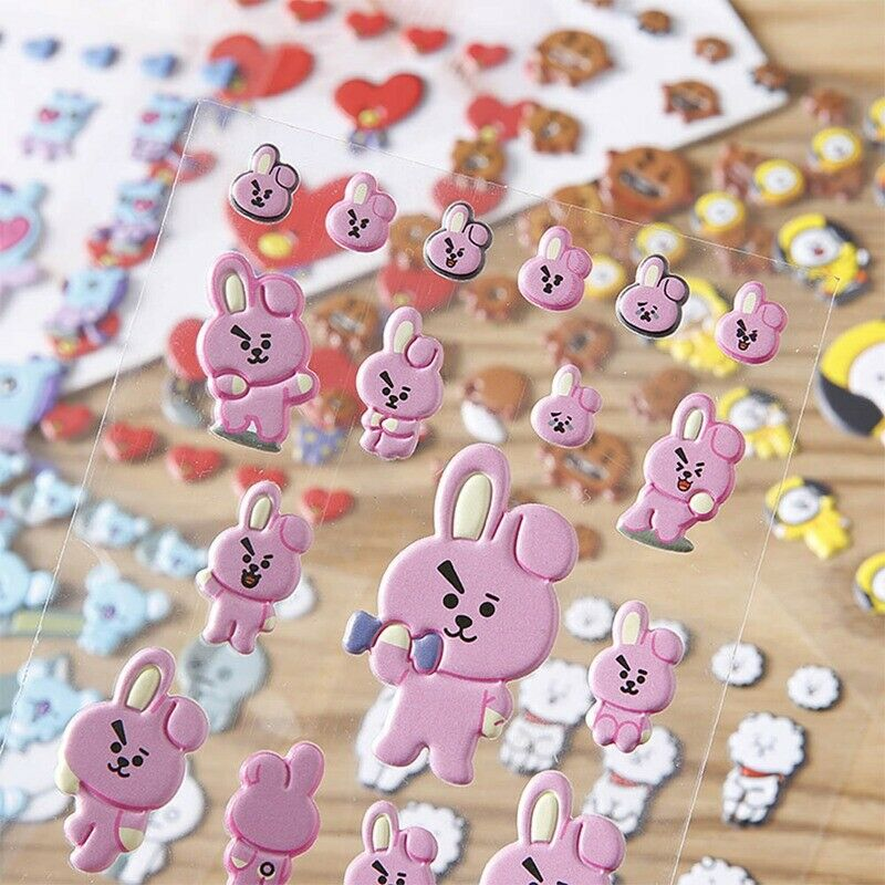 Kpop BTS Phone Stickers Paper Beautiful Bubble Stickers PVC Cartoon Stickers 2
