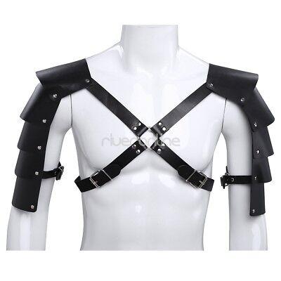 Männer Leder Körper Brust Harness Harnisch Kostüm mit Schulterpanzer Schwarz 2