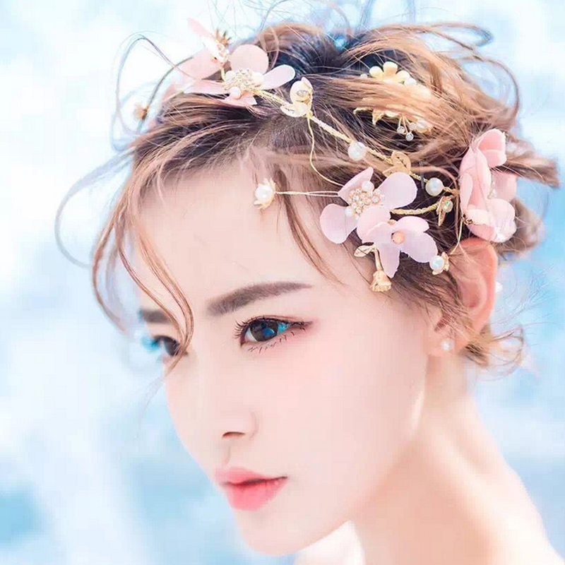 Wedding Bridal Pink Handmade Silk Flower Pearl Garland Hair Band Tiara Headband 3