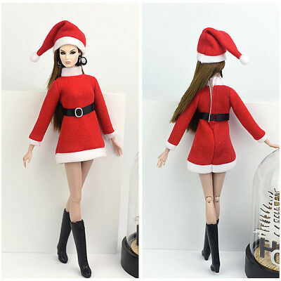 Handmade Merry Christmas Outfit For Blythe Doll Dress Hat Clothes For 1/6 doll 12