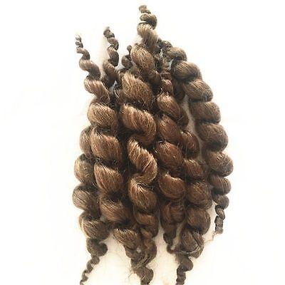 8 PCS Brown Reborn Baby Dolls Hair Premium Curly Mohair Supplies Newborn Wigs