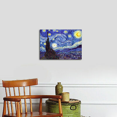 Starry Night by Van Gogh Fine Art Print Painting Reproduction on Canvas Framed 4