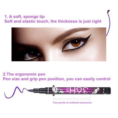 eyeliner feutre précision 36 H waterproof longue tenue noir violet bleu marron 5