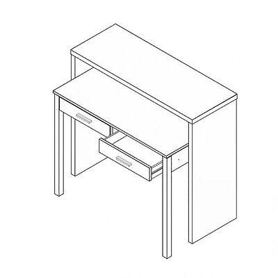 Mesa consola escritorio, mesa extensible, mesa para despacho, Blanco y Roble 3