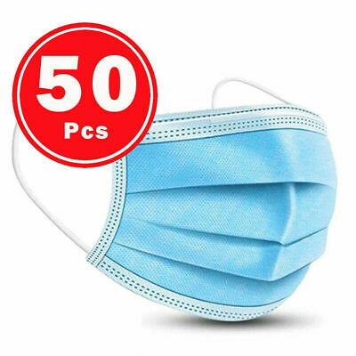 50 PCS Face Mask Medical Surgical Dental Disposable 3-Ply Earloop Mouth Cover 5