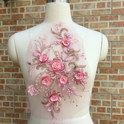 1pc DIY Flower Embroidery Bridal Lace Pearl Beads Tulle Wedding Dress Applique 3