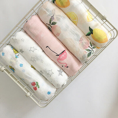 """US Baby Floral Swaddle Blanket 100% Cotton 47""""*47"""" Sleeping Swaddle Muslin Wrap"""