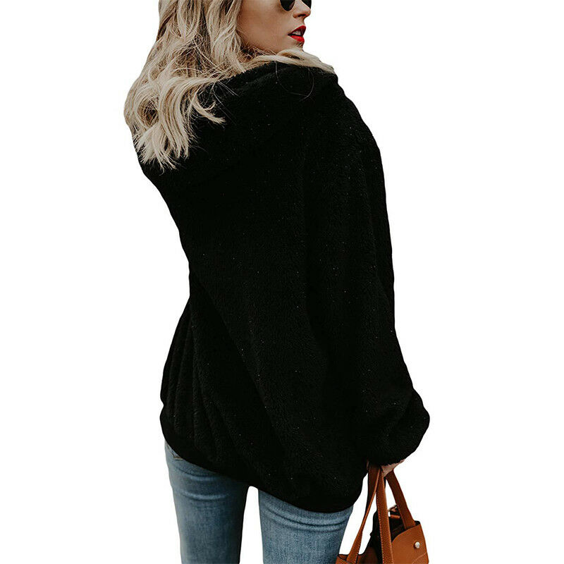 Womens Warm Fleece Hooded Sweatshrit Hoodies Winter Jumper Tops Coat Plus Size 5